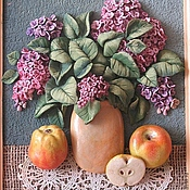 """Картины и панно ручной работы. Ярмарка Мастеров - ручная работа пано из керамического теста""""Сирень"""". Handmade."""