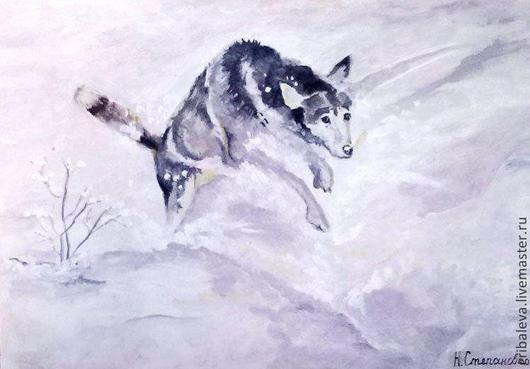 Животные ручной работы. Ярмарка Мастеров - ручная работа. Купить Картина маслом Прыжки в снег! минимализи портрет питомца собака волк. Handmade.
