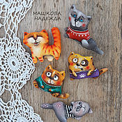 Украшения handmade. Livemaster - original item Cat Brooches textile handmade Primed textile Cat. Handmade.