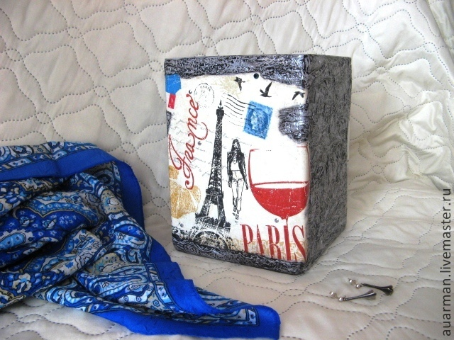 Ваза стеклянная квадратная декупаж Ночные звезды Парижа, Вазы, Мытищи,  Фото №1