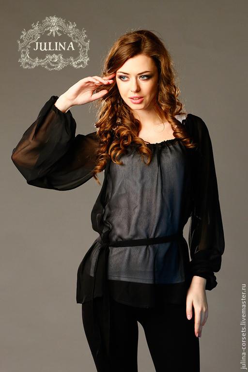 Блузка Шелковая Черная Купить
