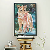 Pictures handmade. Livemaster - original item Lioness mom and baby, oil painting on canvas,40h60cm. Handmade.