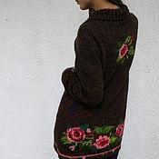 """Одежда ручной работы. Ярмарка Мастеров - ручная работа Жакет вязаный с вышивкой""""Осенние розы"""".. Handmade."""