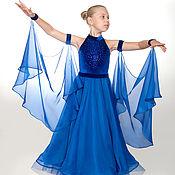 Платья ручной работы. Ярмарка Мастеров - ручная работа Платья: Платье-трансформер для бальных танцев BLUE MIRACLE. Handmade.
