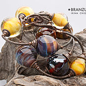 Украшения handmade. Livemaster - original item Parade of planets - long necklace - silver glass beads lampwork. Handmade.