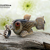 Украшения manualidades. Livemaster - hecho a mano Peces de río-colgante de perlas de lampwork-chapado en plata Swarovski. Handmade.