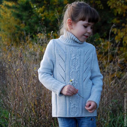 вязание для детей, вязаная одежда для детей, свитер, свитер с косами, свитер для девочки, свитер для мальчика