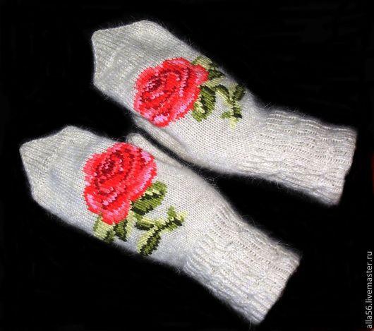 """Варежки, митенки, перчатки ручной работы. Ярмарка Мастеров - ручная работа. Купить Варежки """"Роза"""". Handmade. Белый, варежки женские"""
