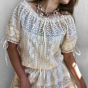 Свадебный салон handmade. Livemaster - original item Dress from sewing and lace in boho style Odette cream short sleeve. Handmade.