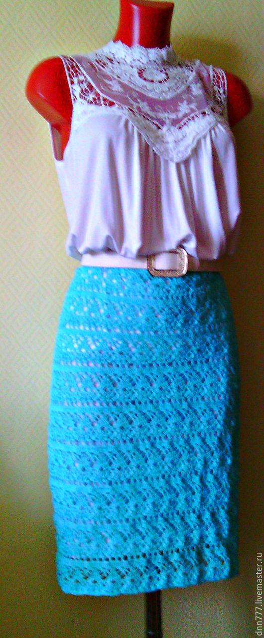 """Юбки ручной работы. Ярмарка Мастеров - ручная работа. Купить Летняя юбка """"Бирюза"""". Handmade. Однотонный, летняя юбка, бирюзовый"""