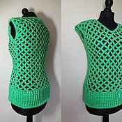 Одежда ручной работы. Ярмарка Мастеров - ручная работа зеленый топ сеткой  крючком размер М 44-46. Handmade.