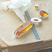 Украшения ручной работы. Ярмарка Мастеров - ручная работа Серьги асимметричные длинные желтые серебро - большие серьги. Handmade.