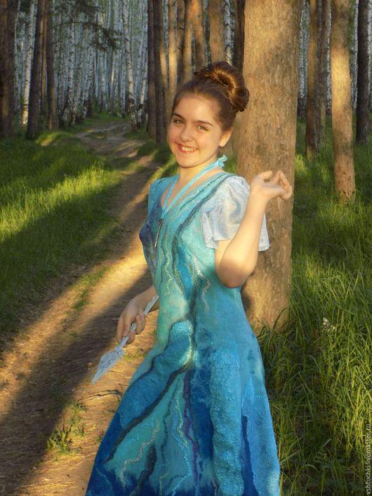 """Платья ручной работы. Ярмарка Мастеров - ручная работа. Купить Валяное платье """"Я - фея!"""". Handmade. Бирюзовый, валяное платье"""