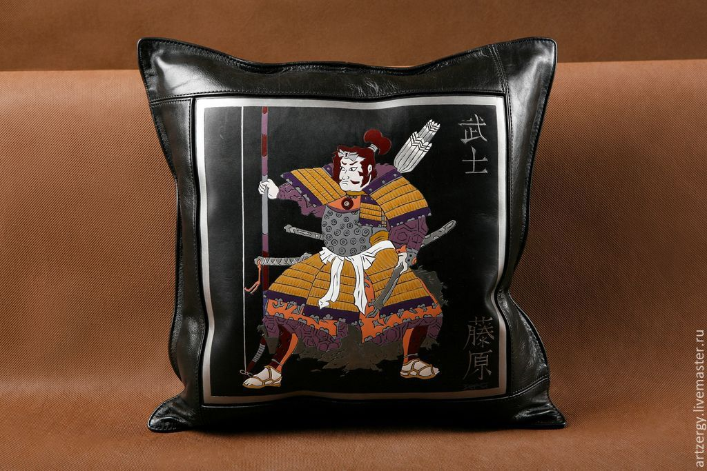 SAMURAI leather cushion, Pillow, Moscow,  Фото №1