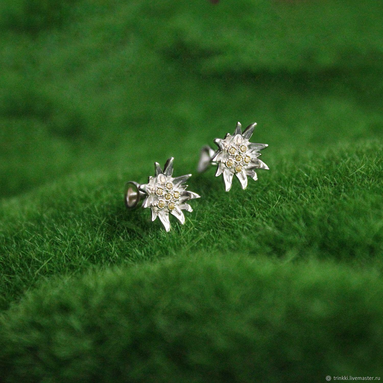 Edelweiss earrings in sterling silver, Earrings, Tver,  Фото №1