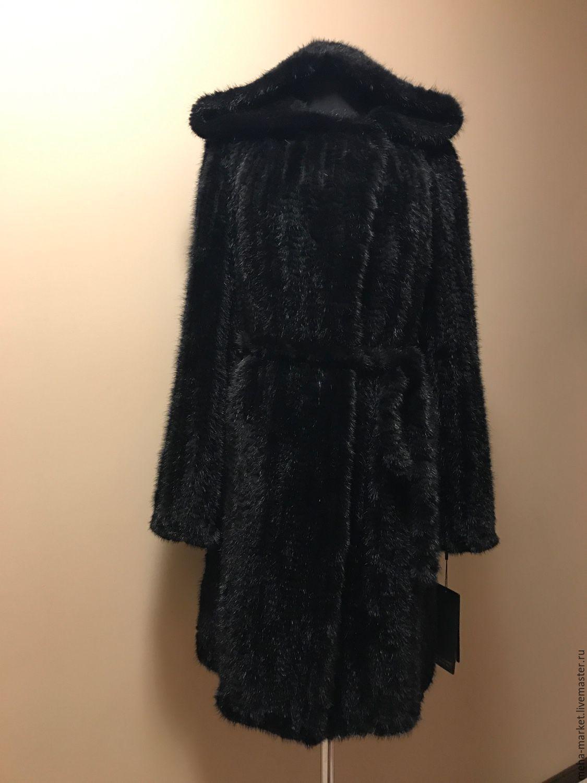 пальто из вязаной норки классика с капюшоном купить в интернет