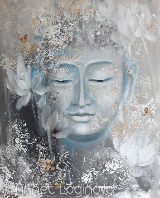 Картины цветов ручной работы. Ярмарка Мастеров - ручная работа. Купить Buddha. Handmade. Картина на холсте, серый, медитация