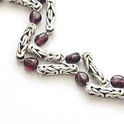 Украшения handmade. Livemaster - original item Garnet necklace and earring Tart taste of pomegranate (925 sterling silver, rhodolite). Handmade.