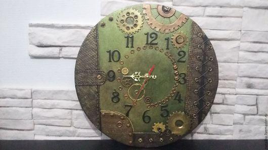 Часы для дома ручной работы. Ярмарка Мастеров - ручная работа. Купить Часы в стиле Стимпанк. Handmade. Оливковый, часы настенные