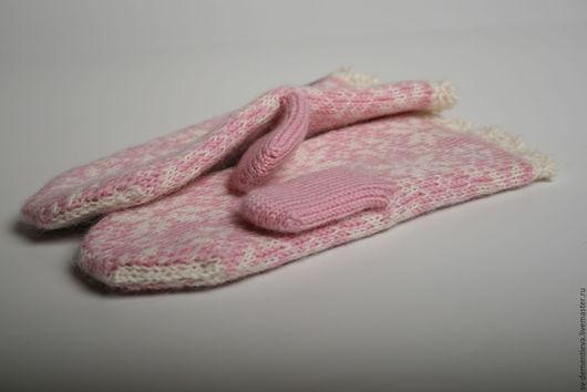 Варежки, митенки, перчатки ручной работы. Ярмарка Мастеров - ручная работа. Купить Варежки двойные вязаные жаккард розовые. Handmade.