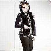 Одежда ручной работы. Ярмарка Мастеров - ручная работа Меховой жилет из вязаной норки. Handmade.