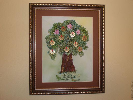 Пейзаж ручной работы. Ярмарка Мастеров - ручная работа. Купить Денежное дерево вышито лентами. Handmade. Вышивка лентами картины