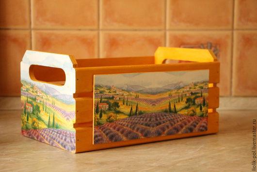 """Корзины, коробы ручной работы. Ярмарка Мастеров - ручная работа. Купить Короб-ящик """"Прованс"""" (большой). Handmade. Оранжевый"""
