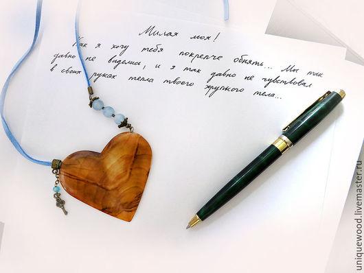 Подарки для влюбленных ручной работы. Ярмарка Мастеров - ручная работа. Купить Сердце из дерева кулон колье с аквамарином.. Handmade.
