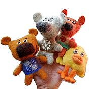 Felted Toy handmade. Livemaster - original item Mimimishki toys felted finger (set). Handmade.