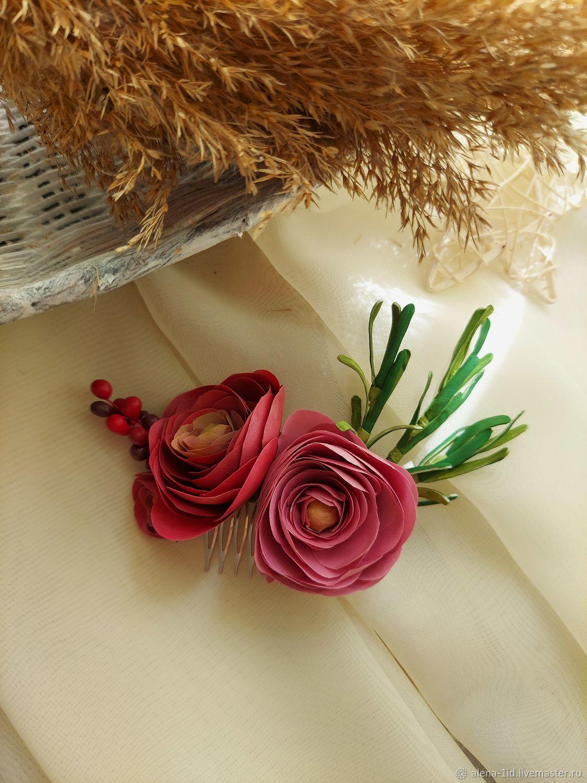 Гребень для волос с Ранункулюсами, Украшения для причесок, Белореченск,  Фото №1