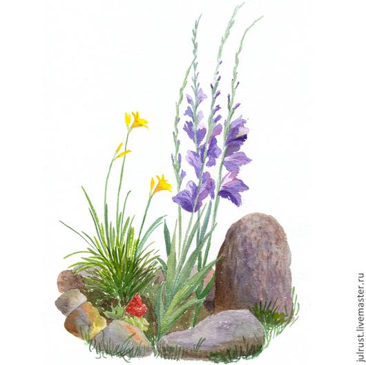 Открытки на все случаи жизни ручной работы. Ярмарка Мастеров - ручная работа. Купить Открытка авторская Клумба с Гладиолусами, цветы акварель сиреневый. Handmade.