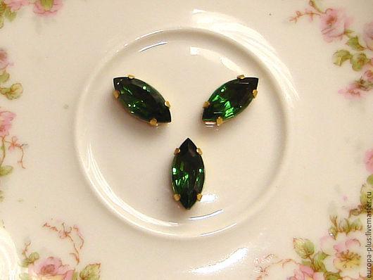 Для украшений ручной работы. Ярмарка Мастеров - ручная работа. Купить Винтажные кристаллы 15х7 мм - Turmalin. Handmade. Зеленый