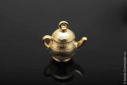 """Для украшений ручной работы. Ярмарка Мастеров - ручная работа. Купить Подвеска """" чайник """" позолота. Handmade."""