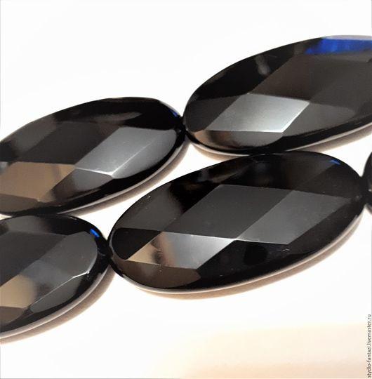 Для украшений ручной работы. Ярмарка Мастеров - ручная работа. Купить Агат натуральный черный. Овал граненый (диск)  50 х 25 х 9 мм.. Handmade.
