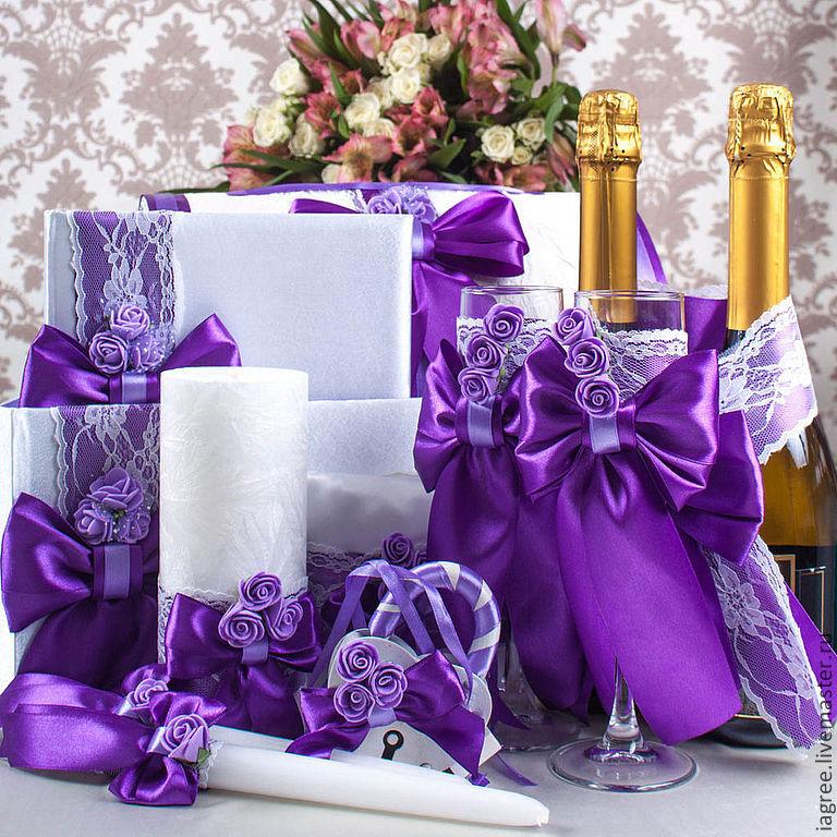 Украшение свадьбы своими руками фиолетовый