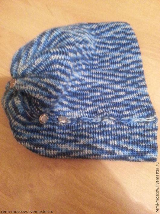 """Шапки ручной работы. Ярмарка Мастеров - ручная работа. Купить Мужская шапка вязаная """"Морской"""". Handmade. Тёмно-синий"""