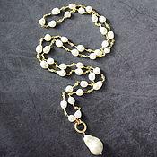 Работы для детей, handmade. Livemaster - original item Chic sautoir natural Pearl with Baroque pearl pendant. Handmade.