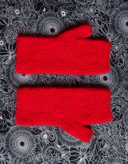 Варежки, митенки, перчатки ручной работы. Ярмарка Мастеров - ручная работа. Купить Красные пушистые митенки. Handmade. Митенки