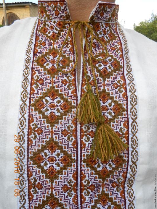 Этническая одежда ручной работы. Ярмарка Мастеров - ручная работа. Купить Вышиванка льняная  славянская бежевая. Handmade. Белый