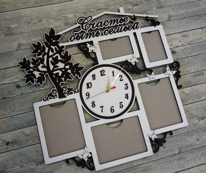Часы из дерева с фоторамками, Часы, Зеленоград, Фото №1
