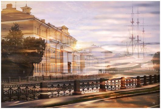 Санкт-Петербург фотокартина для интерьера, городской пейзаж из серии «Город в плеске воды», Юсуповский дворец, Набережная Фонтанки,  Елена Ануфриева