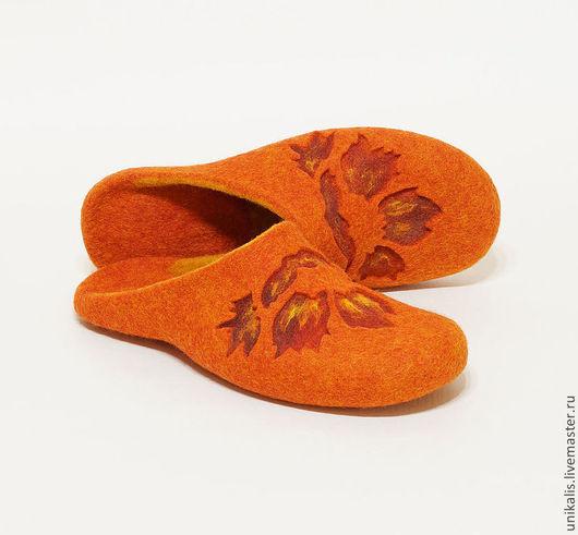 """Обувь ручной работы. Ярмарка Мастеров - ручная работа. Купить Валяные тапочки """"Sunlight flower"""". Handmade. Рыжий, тапочки домашние"""