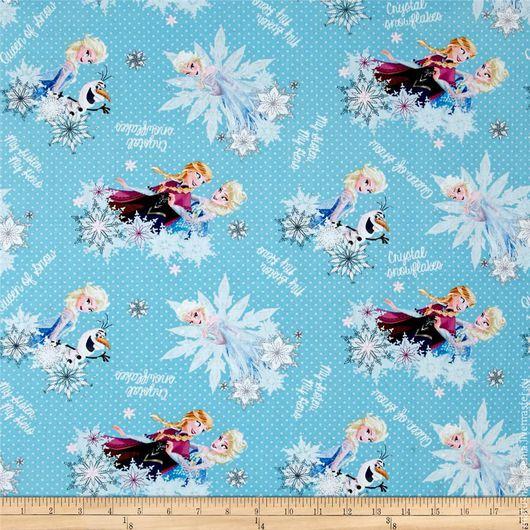 """Шитье ручной работы. Ярмарка Мастеров - ручная работа. Купить Новогодняя ткань """"Анна и Эльза Холодное Сердце Frozen"""" для тильды. Handmade."""
