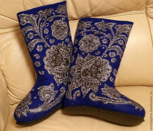 Обувь ручной работы. Ярмарка Мастеров - ручная работа. Купить русский узор на  синем. Handmade. Тёмно-синий, валенки, Валяние