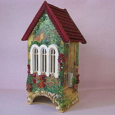 Для дома и интерьера ручной работы. Ярмарка Мастеров - ручная работа Чайный домик Дворик Чайный домик с объемным декором и подсветкой. Handmade.