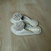 Обувь ручной работы. Ярмарка Мастеров - ручная работа Домашние тапочки  Хризантемы перламутровые. Handmade.