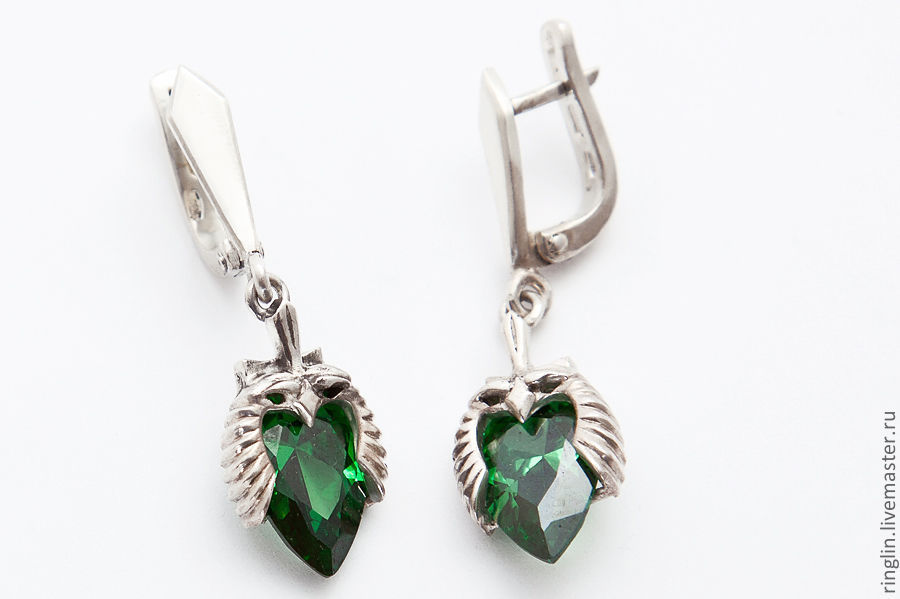 Earrings in the form of the head of a Falcon, Earrings, Moscow,  Фото №1