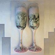 """Свадебный салон ручной работы. Ярмарка Мастеров - ручная работа Свадебные бокалы """"Ангелы"""". Handmade."""