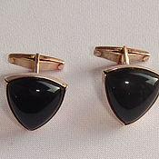 Винтаж handmade. Livemaster - original item Cufflinks Black Onyx Silver 875 star vintage USSR Triangles. Handmade.