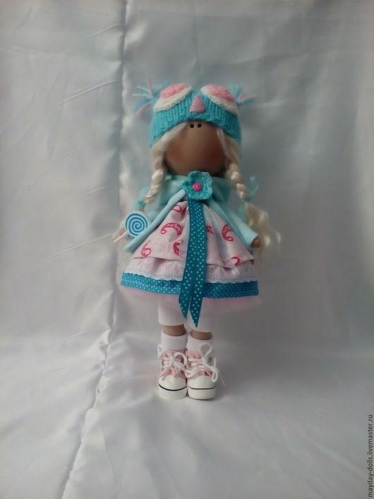 Куклы тыквоголовки ручной работы. Ярмарка Мастеров - ручная работа. Купить Интерьерная текстильная кукла большеножка Мира. Handmade. Бирюзовый
